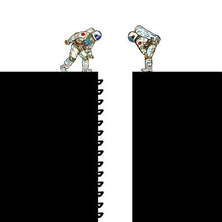 Astronauts and ladder Scientific research. Pit silhouette. Pop art retro vector illustration 50s 60s style Ilustración de vector
