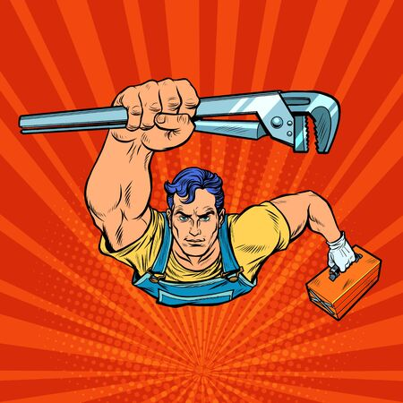 A repairman with an adjustable wrench rushes to the rescue. Pop art retro vector illustration 50s 60s style