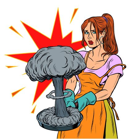 A woman and a nuclear explosion. Peace and war. Pop art retro vector illustration kitsch vintage 50s 60s Illustration