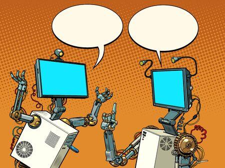 two robots communicate 向量圖像