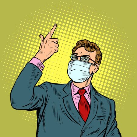Businessman in a medical mask. The epidemic of coronavirus