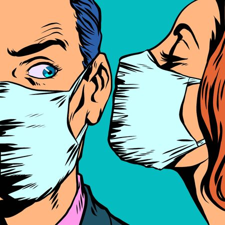 man and woman in medical masks