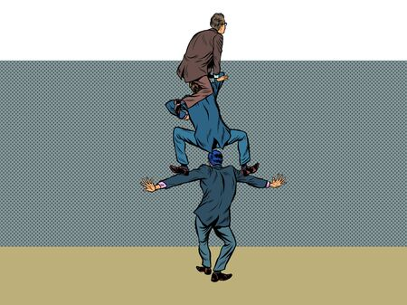 businessman climbs over the wall. Pop art retro vector illustration kitsch vintage 50s 60s style 向量圖像