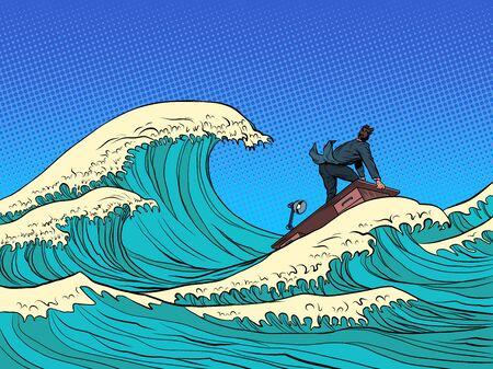 businessman waves of the economic storm crisis. Pop art retro vector illustration kitsch vintage 50s 60s style 向量圖像