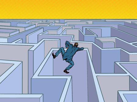 A businessman tries to pass a maze. Pop art retro vector illustration kitsch vintage 50s 60s style