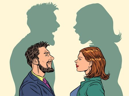 Man and woman conflict quarrel concept. Pop art retro vector illustration kitsch vintage 50s 60s style
