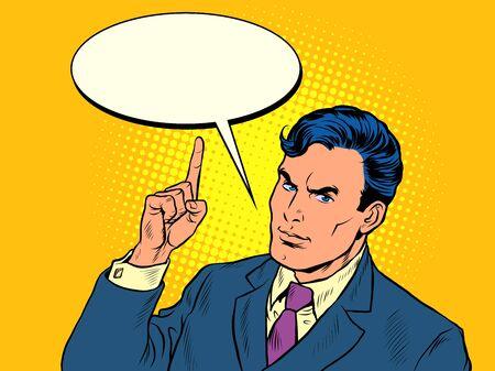 businessman threatens with a finger. Pop art retro vector illustration kitsch vintage 50s 60s style