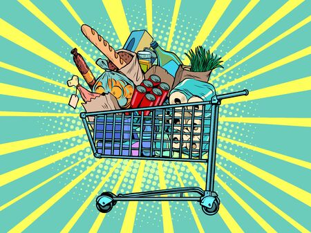 a grocery cart full of purchases. Pop art retro vector illustration kitsch vintage 50s 60s style Vecteurs