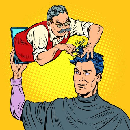 remote work online help. a male Barber makes a haircut