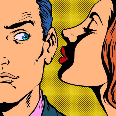 man and woman whispering a secret. Pop art retro vector illustration vintage kitsch 50s 60s style