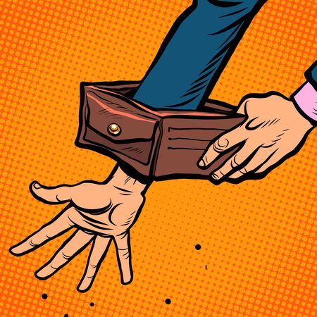 Bankruptcy businessman. Empty wallet. Economic crisis Pop art retro vector illustration kitsch vintage 50s 60s style