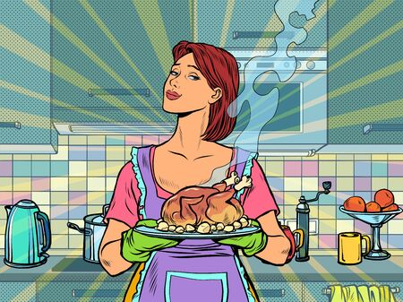 Woman with ready fried poultry chicken duck Ilustrace