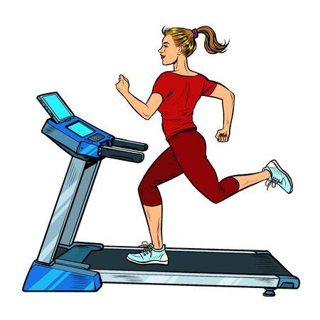 treadmill, sports equipment for training. fitness room. Pop art retro vector illustration vitch vintage 50s 60s style
