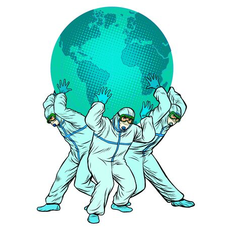 the planet is held by doctors. The concept of the heroism of doctors. Medical workers in protective suits during an epidemic. Pop art retro vector illustration vitch vintage 50s 60s style