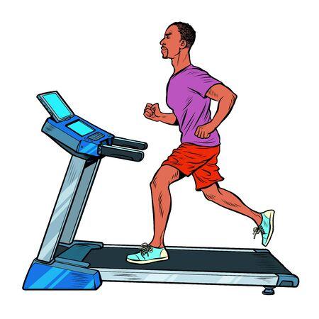 treadmill, sports equipment for training. fitness room. Pop art retro vector illustration vitch vintage 50s 60s style Фото со стока - 147114604