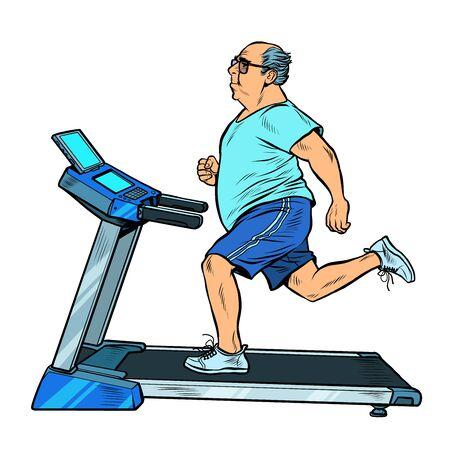 an elderly fat man treadmill, sports equipment for training. fitness room. Pop art retro vector illustration vitch vintage 50s 60s style Иллюстрация
