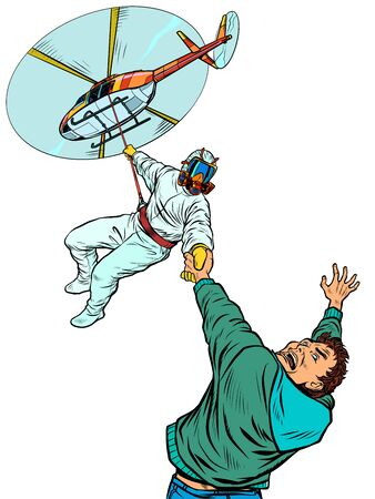medic rescuer by helicopter rescues a patient, quarantine epidemic. Pop art retro vector illustration kitsch vintage 50s 60s style