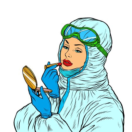 Female doctor in protective suit puts on lipstick makeup. Pop art retro vector illustration kitsch vintage 50s 60s style