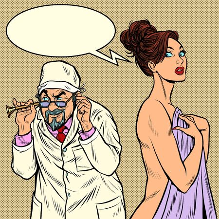 doctor with retro stethoscope listening to a female patient. Pop art retro vector illustration kitsch vintage 50s 60s style