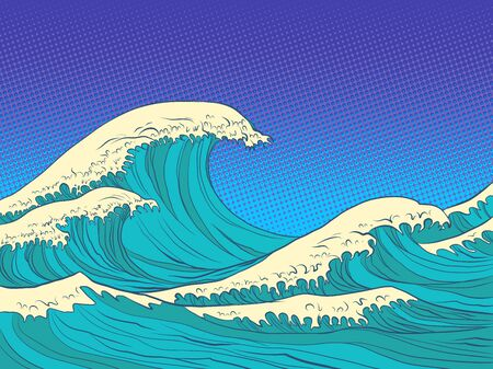 ocean high waves. Pop art retro vector illustration kitsch vintage 50s 60s style Иллюстрация