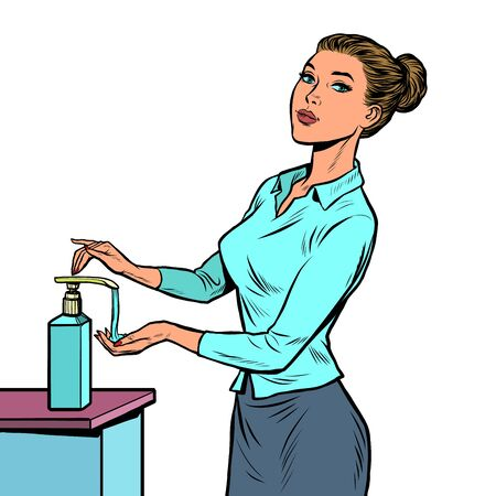 a woman uses a hand sanitizer. Pop art retro vector illustration 50s 60s style Иллюстрация