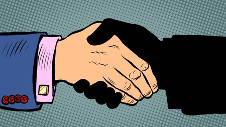 handshake deal business agreement. Pop art retro vector illustration kitsch vintage 50s 60s style Иллюстрация