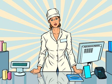The woman pharmacist. Working in a pharmacy. Medicine sales. Pop art retro vector illustration 50s 60s style Иллюстрация