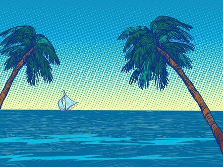 night beach resort palm trees sea. Pop art retro vector illustration vintage kitsch 50s 60s style Иллюстрация