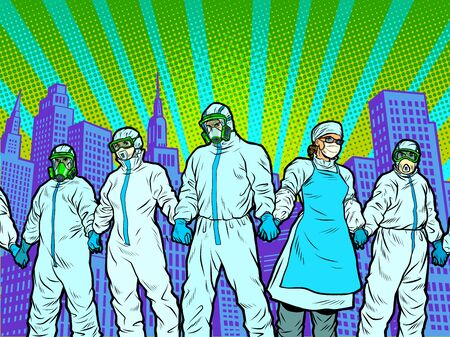 The epidemic concept. Doctors protect the city. Pop art retro vector illustration 50s 60s style