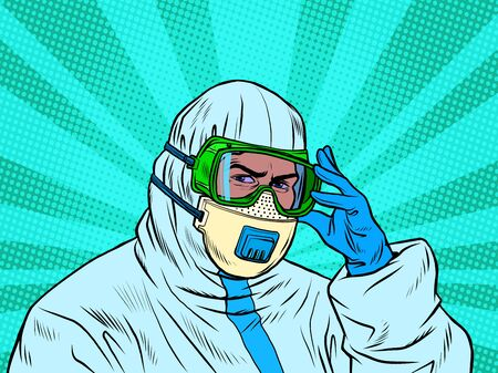 A doctor in a full protective suit during an epidemic. Mask and gloves. Pop art retro vector illustration 50s 60s style Иллюстрация