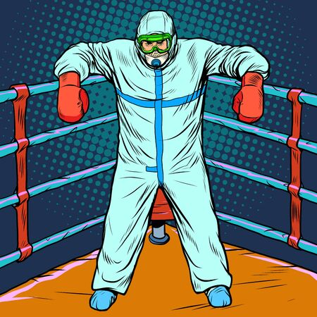 doctor man in protective suit after the battle. Treatment as a Boxing concept, epidemic. chemical biological or radiation contamination. Pop art retro vector illustration vitch vintage 50s 60s style