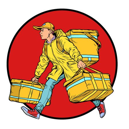 courier boy food delivery. Pop art retro vector illustration kitsch vintage 50s 60s style