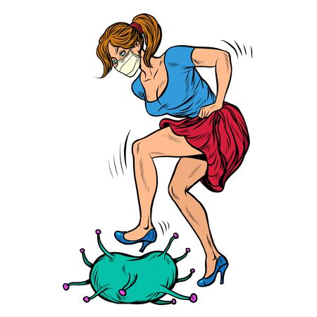woman beats up coronavirus. Pop art retro vector illustration 50s 60s style