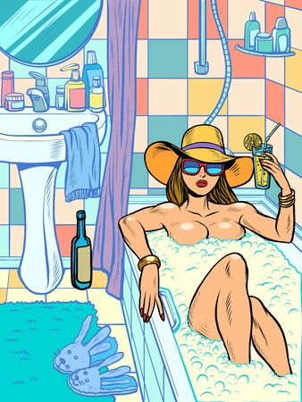 a woman takes a bath. Pop art retro vector illustration vitch vintage 50s 60s style