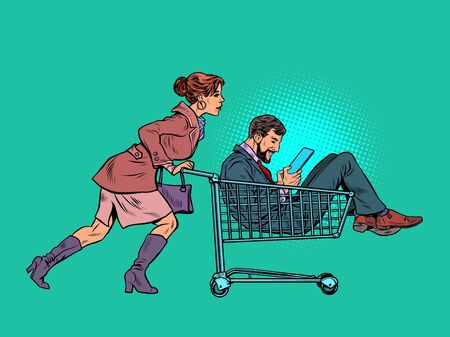 Woman with a man in a shopping cart in a supermarket. Pop art retro vector illustration kitsch vintage 50s 60s style