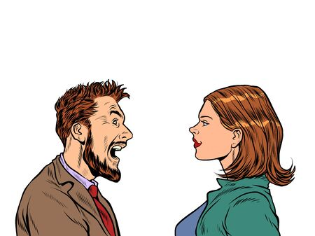 man and woman dispute emotions scream. Pop art retro vector illustration vintage kitsch 50s 60s style Иллюстрация