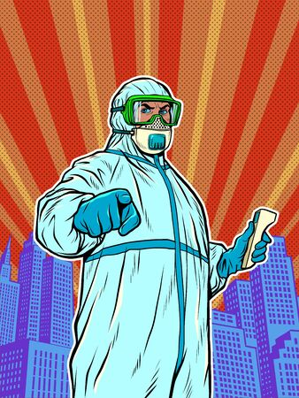 A doctor in a full protection suit with a thermometer. Epidemic coronavirus covid19. Pop art retro vector illustration 50s 60s style