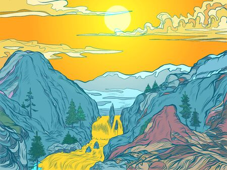 mountains sun river mountain resort or natural Park. Pop art retro vector illustration vintage kitsch 50s 60s style