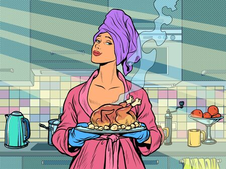 Woman with ready fried poultry chicken duck. Pop art retro vector illustration kitsch vintage 50s 60s style Иллюстрация