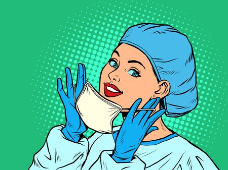 female doctor putting on a medical mask. Pop art retro vector illustration vitch vintage 50s 60s style