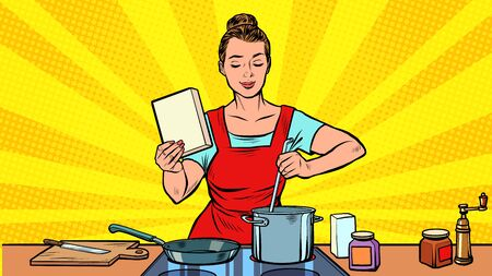 A woman cooks in the kitchen. Pop art retro vector illustration 50s 60s style Иллюстрация