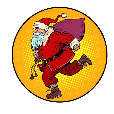 Santa Claus is running. New year and Christmas. Pop art retro vector illustration vitch vintage 50s 60s style Ilustração