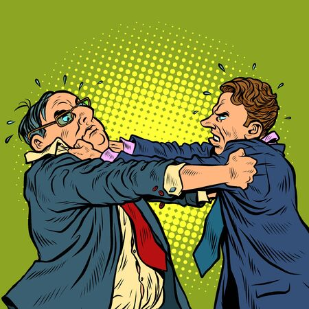 businessmen fighting, conflict competition. Pop art retro vector illustration kitsch vintage 50s 60s style