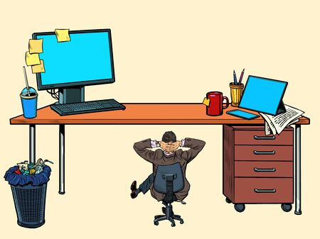 Small businessman under a large office Desk. Pop art retro vector illustration kitsch vintage 50s 60s style Иллюстрация