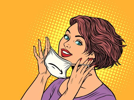 woman puts on a medical mask. Pop art retro vector illustration vitch vintage 50s 60s style Иллюстрация
