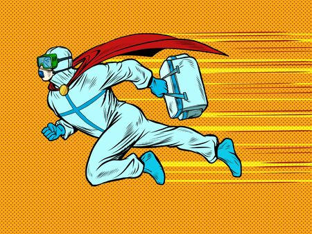 superhero doctor man flies to the rescue with a medicine cabinet in protective suit, epidemic. chemical biological or radiation contamination. Pop art retro vector illustration vitch vintage 50s 60s style