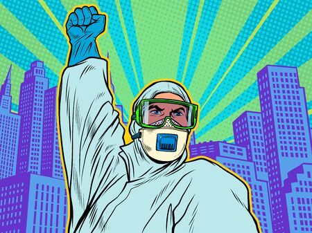 A doctor in a full protection suit against the city background. Resistance gesture. Epidemic coronavirus covid19. Pop art retro vector illustration 50s 60s style