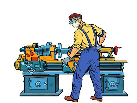 Homework during the epidemic concept. The Turner works at the machine. Pop art retro vector illustration kitsch vintage 50s 60s style