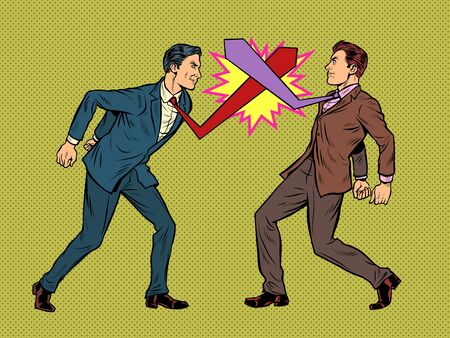 Business competition duel, businessmen fight with ties. Pop art retro vector illustration 50s 60s kitsch vintage style Иллюстрация