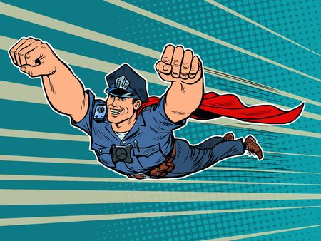 police superhero. The policeman COP is flying. Pop art retro vector illustration 50s 60s kitsch vintage style